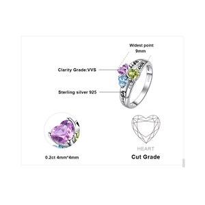Image 5 - JewelryPalace życie miłość śmiech serce oryginalna Peridot ametyst pierścień Topaz 925 srebro pierścionki dla kobiet pierścień przyrzeczenia biżuteria