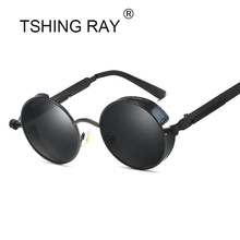 TSHING RAY Gótico Do Vintage Steampunk Óculos De Sol Dos Homens  Revestimento Espelhado Mulheres Retro Rodada óculos de Sol Círcu. 56fe04d131
