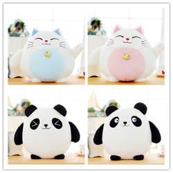 1 шт. 18 см Kawaii Фортуна Cat плюшевые игрушки Lucky Cat панда с бамбук мешок плюшевые Животные игрушки куклы украшение автомобиля подарки