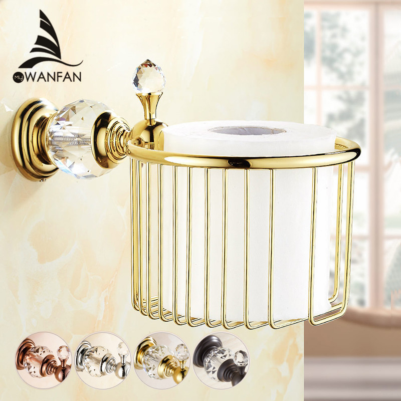 Paper Holders Gold Crystal Wall Mounted Bathroom <font><b>Accessories</b></font> Toilet Paper Holders Black Bathroom WC Basket Tissue Holder HK-35