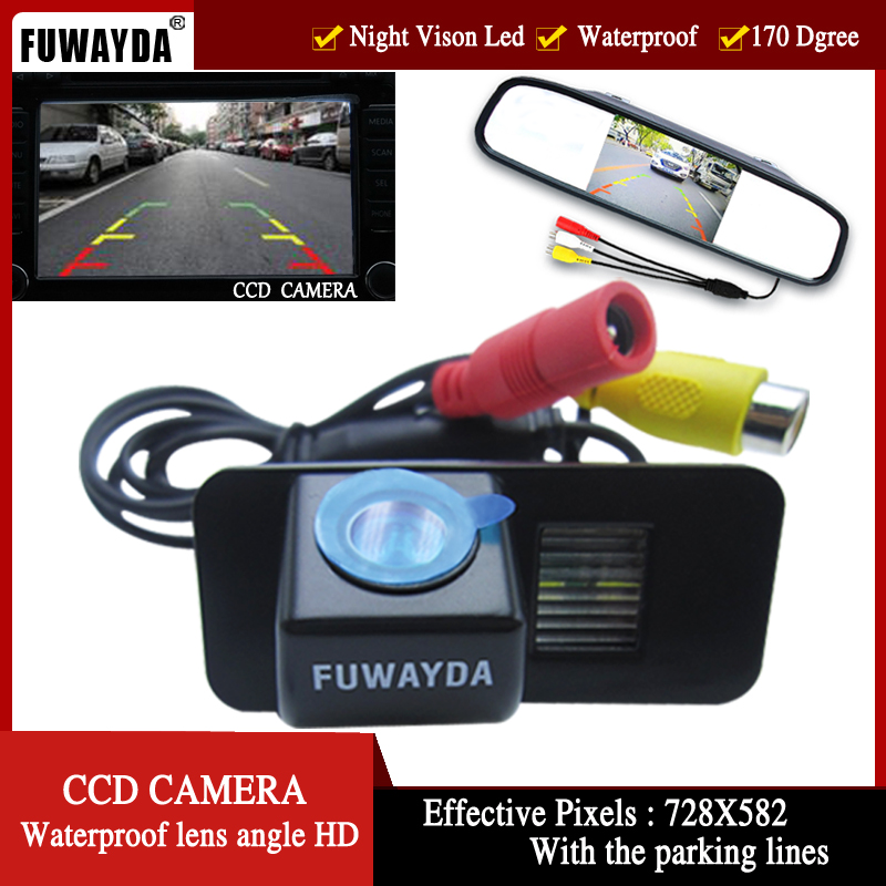 FUWAYDA CCD HD Night Vision Car Rear View Camera With 4.3 Car Rear view Mirror Monitor for FORD MONDEO FIESTA FOCUS/S-Max KUGA car camera for right left blind spot system car rear view camera for ford focus 2 3 maverick escape kuga c max car styling