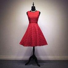 2016 Robe De Soiree Neue Rote Spitze Stickerei Sleeveless A-linie Cocktailkleider Braut Bankett Elegante Partei-formales Abschlussball-kleid