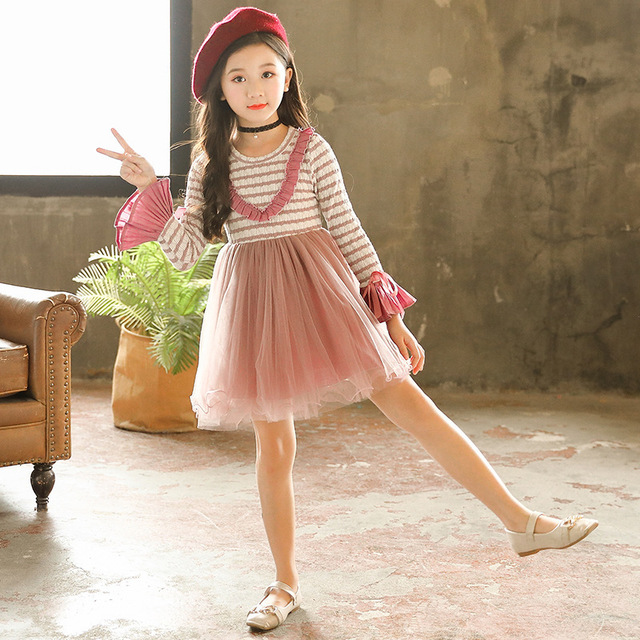 e8827405f753 knit sweater patchwork baby girl dress tutu long sleeve clothing striped  pink purple teen children christmas dress autumn winter