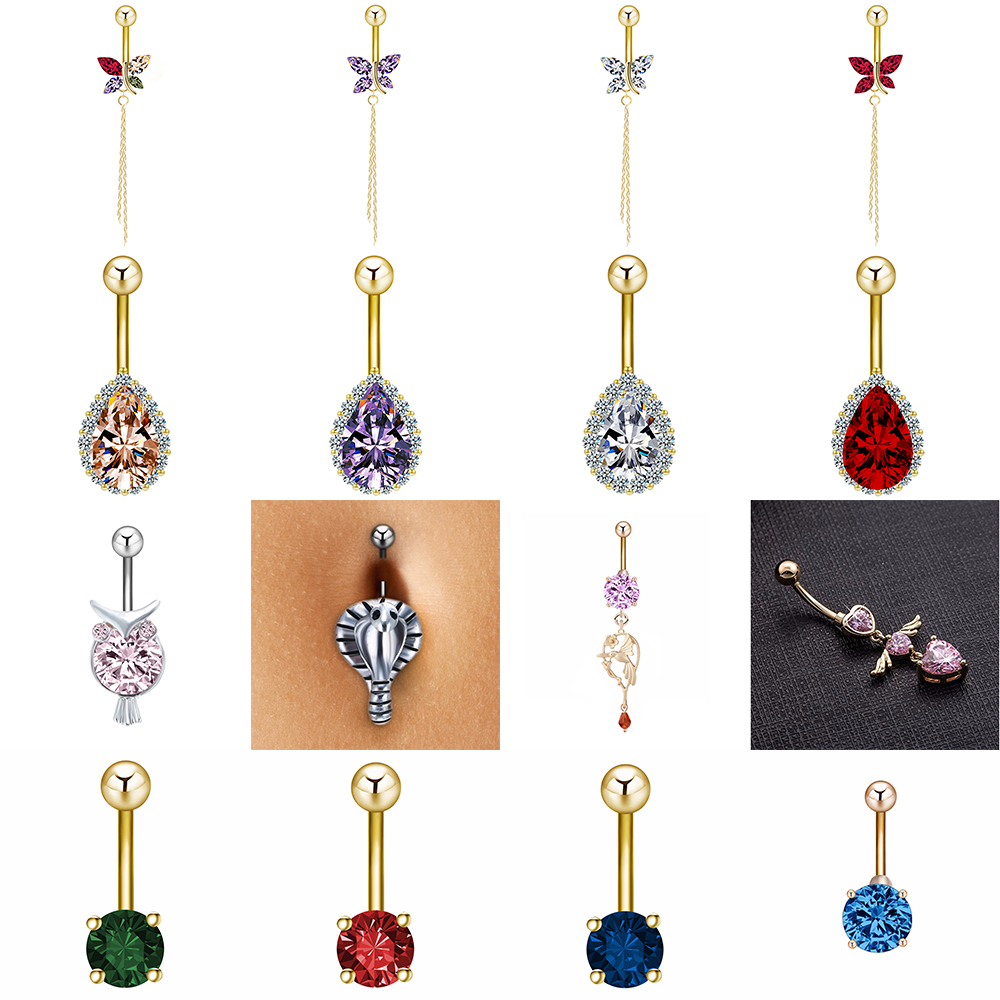 Cxwind Body-Jewelry Zircon Navel Piercings Snake Butterfly Owl Button-Rings Rhinestones