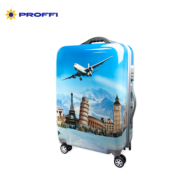 Fashionable suitcase with print PROFFI TRAVEL PH8648 M plastic medium with built-in scales on wheels