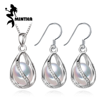 MINTHA Bohemian cage Pearl Jewelry sets statement necklace,stud Earrings fashion jewelry sets 925 sterling silver necklace women