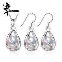 MINTHA Bohemian gabbia set di Gioielli di Perle collana, orecchini set di gioielli di moda collana in argento 925 donne