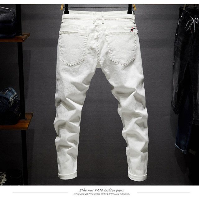Slim Stretchable White Pants With Embroidery  for Men 1