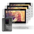 "FREE SHIPPING New 7"" Color Touch Key Screen Video Door Phone Intercom System + 3 White Monitors + Night Vision Doorbell Camera"