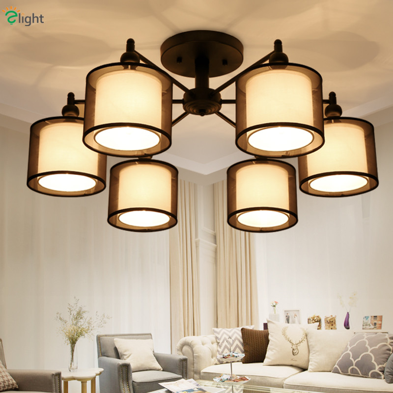 2016 Nordic Art Deco Double Black Fabric Lampshades Led Chandelier 85-265V Korea Simple Iron Ceiling Chandelier2016 Nordic Art Deco Double Black Fabric Lampshades Led Chandelier 85-265V Korea Simple Iron Ceiling Chandelier
