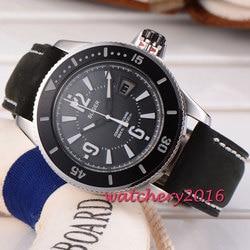 Najnowszy 43mm Bliger czarna tarcza wyświetlacz regulacji daty miyota mechanizm automatyczny Self wiatr ruch mężczyzna mechaniczne zegarki na rękę w Zegarki mechaniczne od Zegarki na