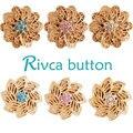 Rivca botão snap pulseiras para as mulheres 2017 mais novo revestimento de ouro 18mm strass botão snap encantos pulseiras jóias d03352