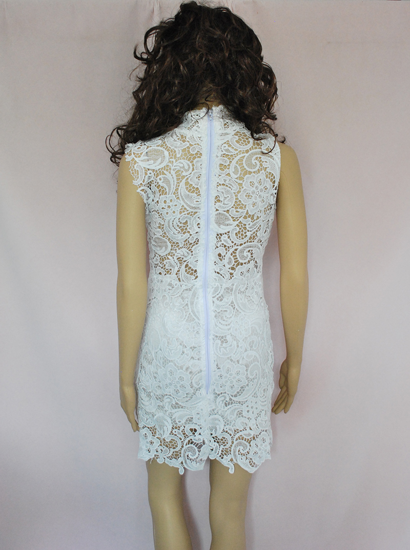Women Embroidery Lace Dress White Red Black Sleeveless Perspective ...