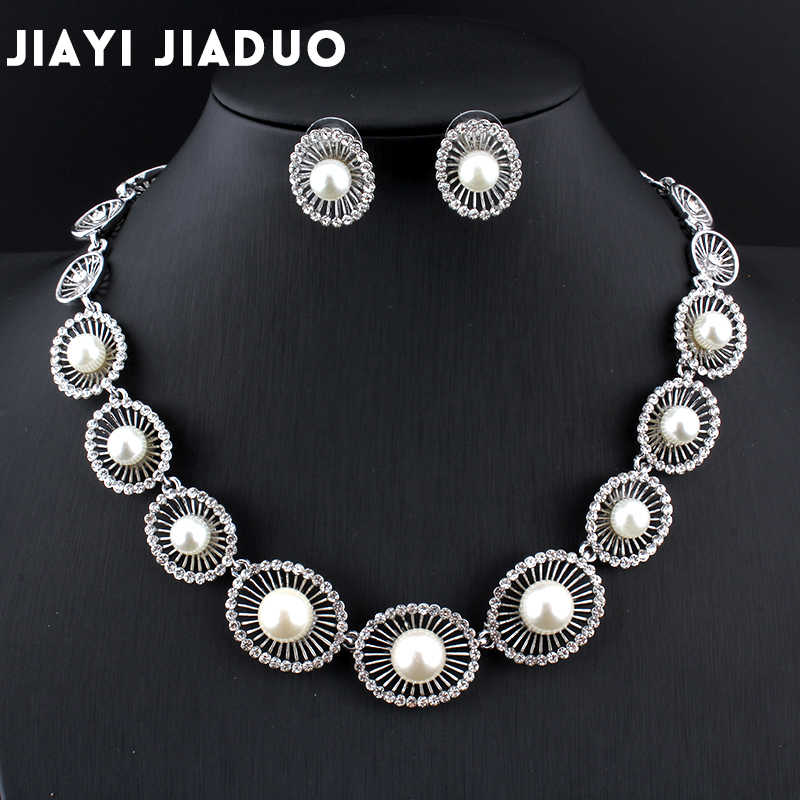 Jiayijiaduo 2017 Bridal Imitation Pearl Jewelry Sets for Women Wedding for Brides Wedding Accessories Silver Color Necklace Sets