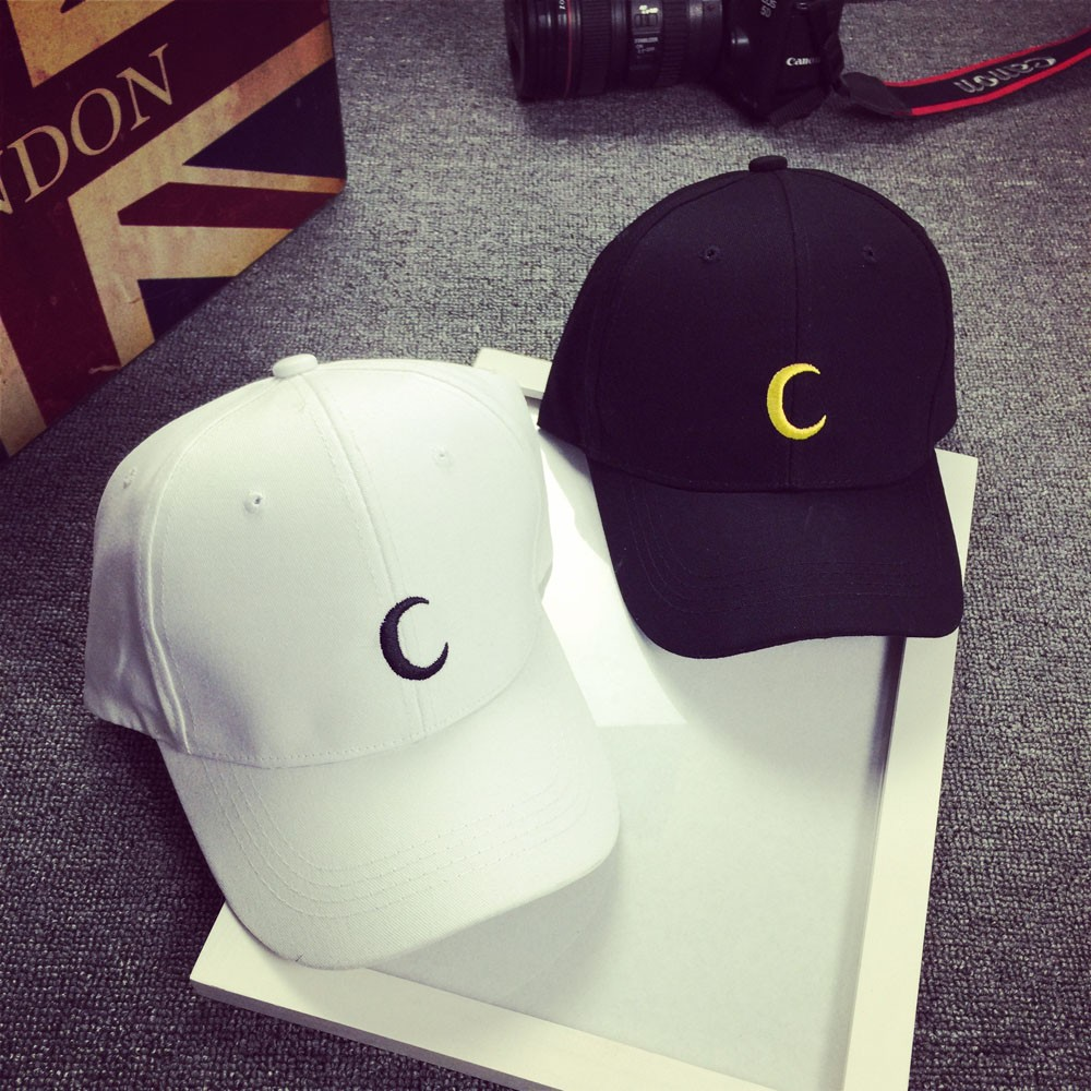 Embroidery Cotton Baseball Cap Moon Printing Boys Girls Snapback Hip Hop Hat Adjustable Snapback Hat