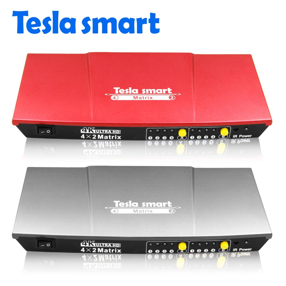Tesla smart High Quality 4x2 1080P 2K 4K 3D HDMI Matrix Selector Switch Switcher Splitter with Analog Stereo(SPDIF)Tesla smart High Quality 4x2 1080P 2K 4K 3D HDMI Matrix Selector Switch Switcher Splitter with Analog Stereo(SPDIF)