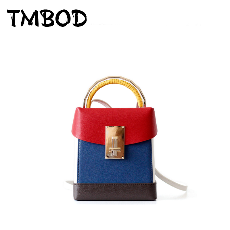 NEW 2018 Classic Retro Small Box Bag Cross body For Female Women Split Leather Handbags Lady Panelled Messenger Bags an1204 new 2018 classic small retro flap bag crossbody for female women split leather handbags lady elegant messenger bags an1062