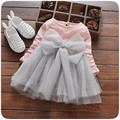 Baby Princess Dress Fashion Long Sleeve Chiffon with Bow Infant Christmas Dress Voile Cotton Patchwork A-line Infant Dress