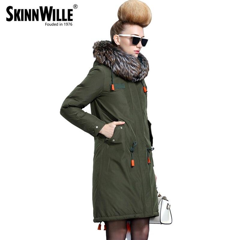 Skinnwille 2017 nouveaux produits doudoune en hiver Plus femmes Long blanc duvet de canard même la jugulaire colliers