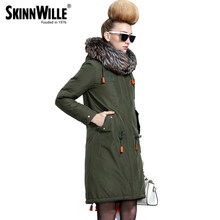 skinnwille 2017 new products down jacket in winter More women Long white duck down even the chinstrap collars(China)