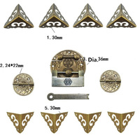 Chinese Brass Lock Set Fit Less Than 20cm Wooden Box,Vase Buckle Wooden Box Hasp Latch Lock+ Round Pattern Carved Hinge+Corner