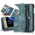 Caixa do telefone de couro de luxo case para samsung galaxy s7 s7 edge com zíper carteira titular do cartão de tampa articulada removível destacável magnética