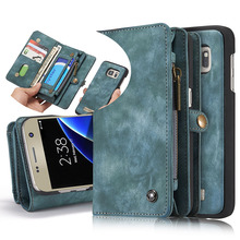 Luxury Leather phone Case For Samsung Galaxy S7 S7 edge Zipper Wallet Magnetic Detachable Card Holder Flip Cover Removable