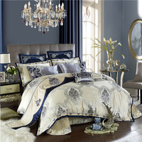 Wedding gift 60S Egyptian cotton Luxury Jacquard Bedding Set 4/6/8/9Pcs King Queen Size Bed Sheet set Duvet cover Pillowcases
