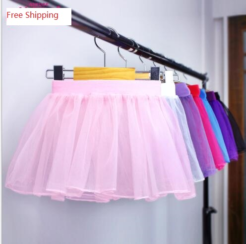 New 2017 Style Lovely Elestic Waistband Pull On Fluffy Soft Tulle Skirt Pink Black Candy Color Infant Kid Girls Skirts S/L Size