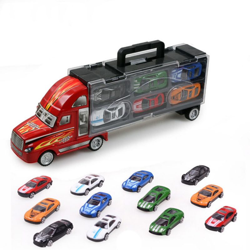 New 12 Pcs Set Alloy Vehicle With Portable Truck Diecast Model Inertial Luxury Car Collectible Toys