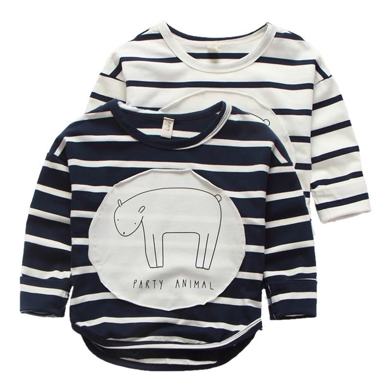 striped 2016 Children T Shirts 2-6Years Baby Boys Girls Clothes Long Sleeve Cotton Cartoon Pattern Kids pokemon T-shirts