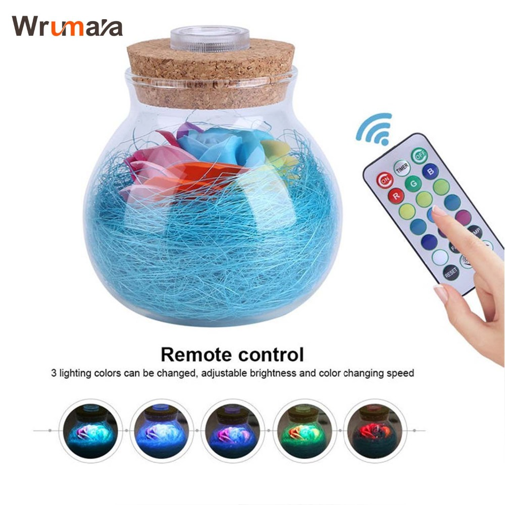 Wrumava LED RGB Dimmer Lamp Night Light Flower Bottle Creative Romantic Rose Bulb Great Holiday Gift For Girl 16 Colors Remote agm rgb led bulb lamp night light 3w 10w e27 luminaria dimmer 16 colors changeable 24 keys remote for home holiday decoration