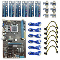 H81 BTC 6 GPU Charger Mining Motherboard With 6 PCI Express Riser Card USB 3 0