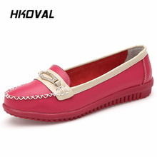 HKOVAL Women Shoes Sneaker Flats Loafers Ladies Shoes Slip on Flats Genuine Leather Moccasins Shoes footwear 2018 hot women flats shoes women loafers ladies slip on flats 9 color genuine leather shoes driving casual women shoes plus size