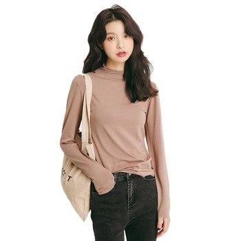 e68a4632ae 2018 de las mujeres del otoño invierno nueva moda mujer cuello alto de manga  larga básica cómodo Tops camisas mujer