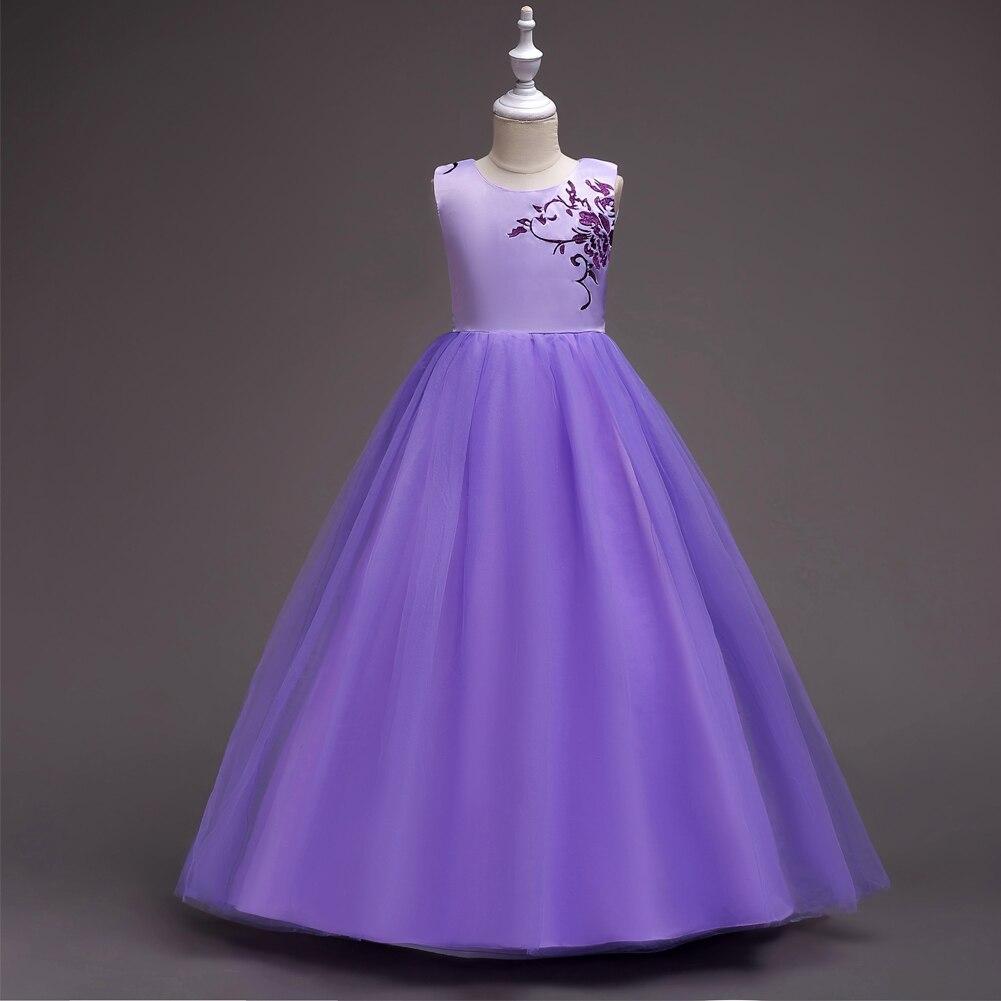Белый лаванда рукавов цветочной вышивкой цветок Обувь для девочек свадебное платье подружки невесты для детей Детские платья Платья для же...