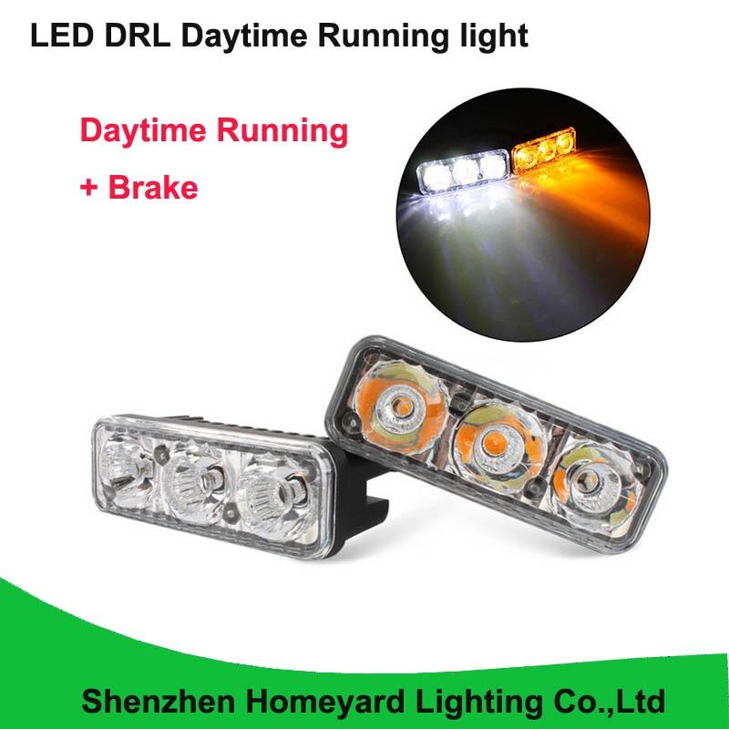 2016 High brightness new fish light 9CM drl daytime running light with brake led fog light no need modify for all car