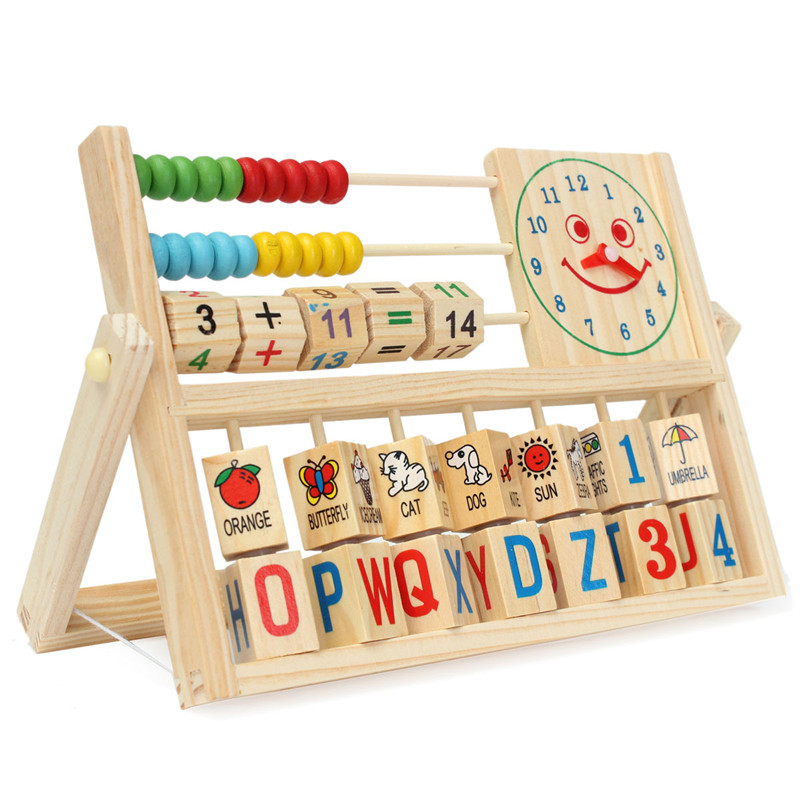 Children Baby Kids Colorful Beech Abacus Learning Educational Versatile Flap Learn Abacus Wooden Toys Kits