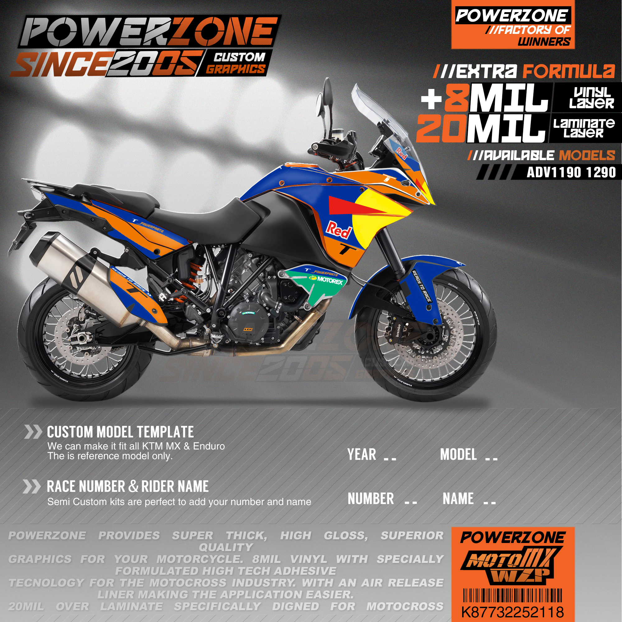 PowerZone Custom Team Graphics Backgrounds Decals 3M Stickers Kit For KTM ADV 1050 1090 1190 1290 118