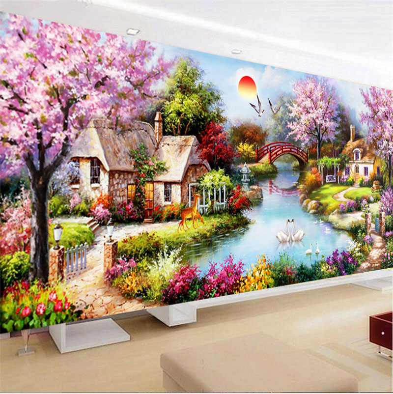 Full Drill Diamond Embroidery European Landscape Cottage DIY Diamond Painting Cross Stitch Simple Living Room Wall Decoration