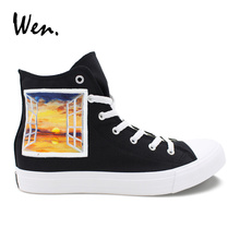 Wen Design Window Scenery Sunset Hand Painted Athletic Shoes Black High Top Canvas Sneakers Men Women Plimsolls Gym Shoes