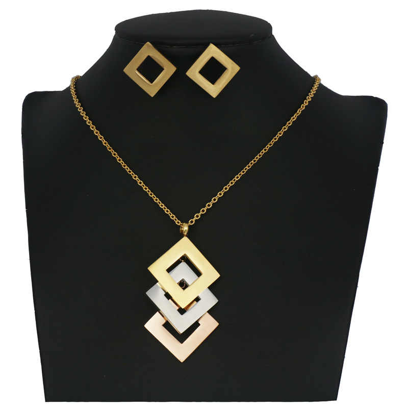 Fashion cute pattern Stainless Steel Jewelry set gold Color good quality Necklace and earring sets for women