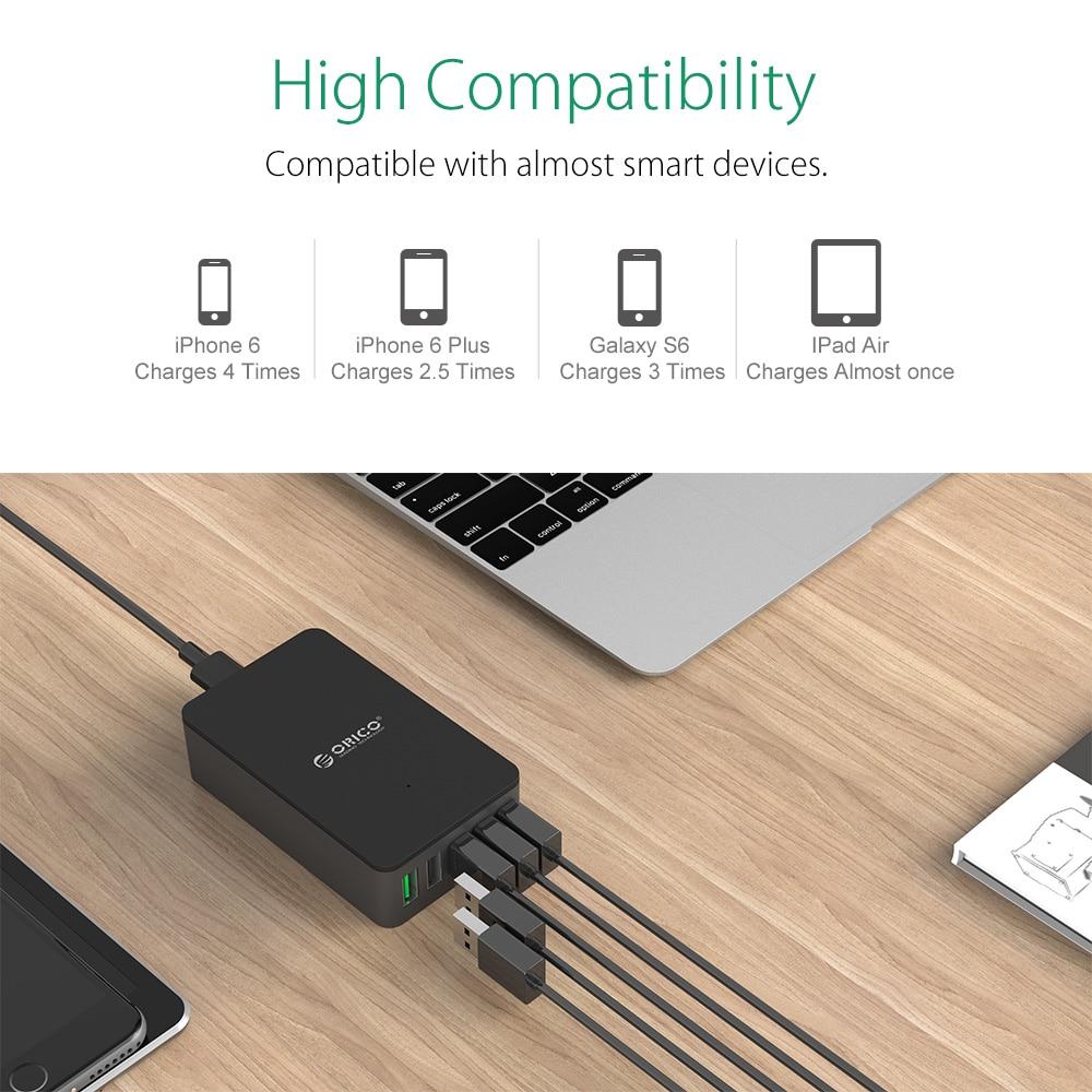ORICO QSE-5U 5 Port QC2.0 5V2.4A 9V2A 12V1.5A Desktop USB Charger - Aksesori dan suku cadang ponsel - Foto 6