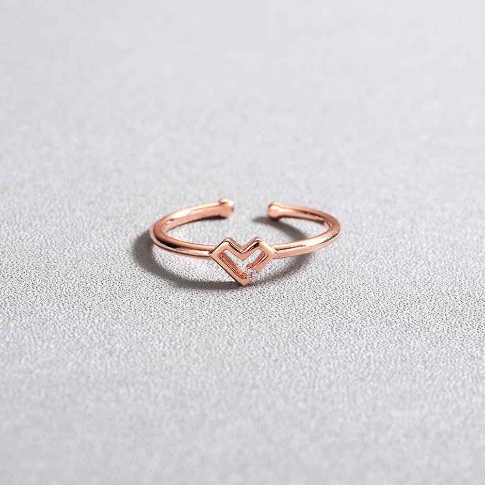 צ 'נדלר כסף חלול לב צורת פתוח טבעת חמוד אהבת Bague תכשיטי עבור נשים צעירות ילדה ילד מתנות מתכוונן אנל