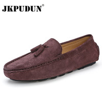 JKPUDUN Suede Leather Mens Loafers Moccasins Italian Designer Casual Shoes Men High Quality Breathable Brown Boat