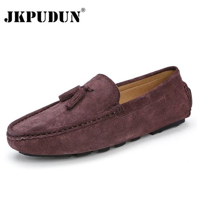 8e3d90e98d0 JKPUDUN Suède Heren Instappers Mocassins Italiaanse Designer Casual Heren  Hoge Kwaliteit Ademend Bruin Bootschoenen Voor Mannen
