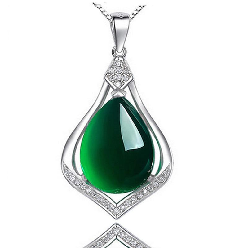 Korean Version S925 Silver Green Chalcedony Pendant Female Agate Water Drop Clavicle Chain Fashion Simple Diamond Jewelry