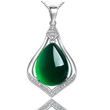Silver S925 necklace Chalcedony Jade Pendant For Women Gemstone Clavicle Emerald peridot Jewelry 925 Necklace Bizuteria pendants(China)