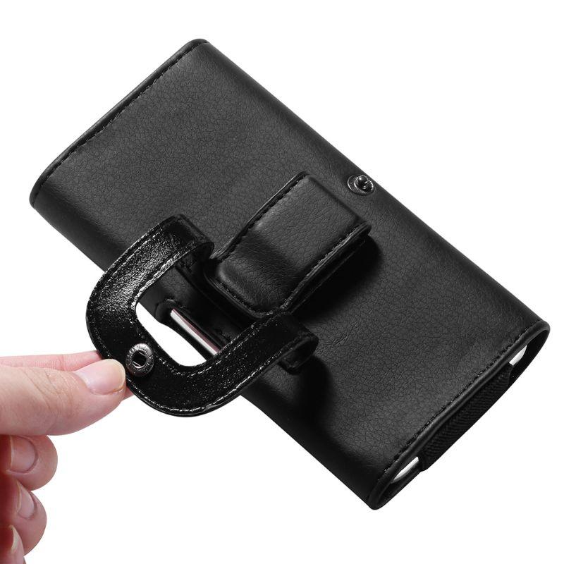 PU Leather Horizontal Waist Belt Clip Pouch Phone Bag For Men All Phone Universal Waist Pocket Running Belt Pouch Bag