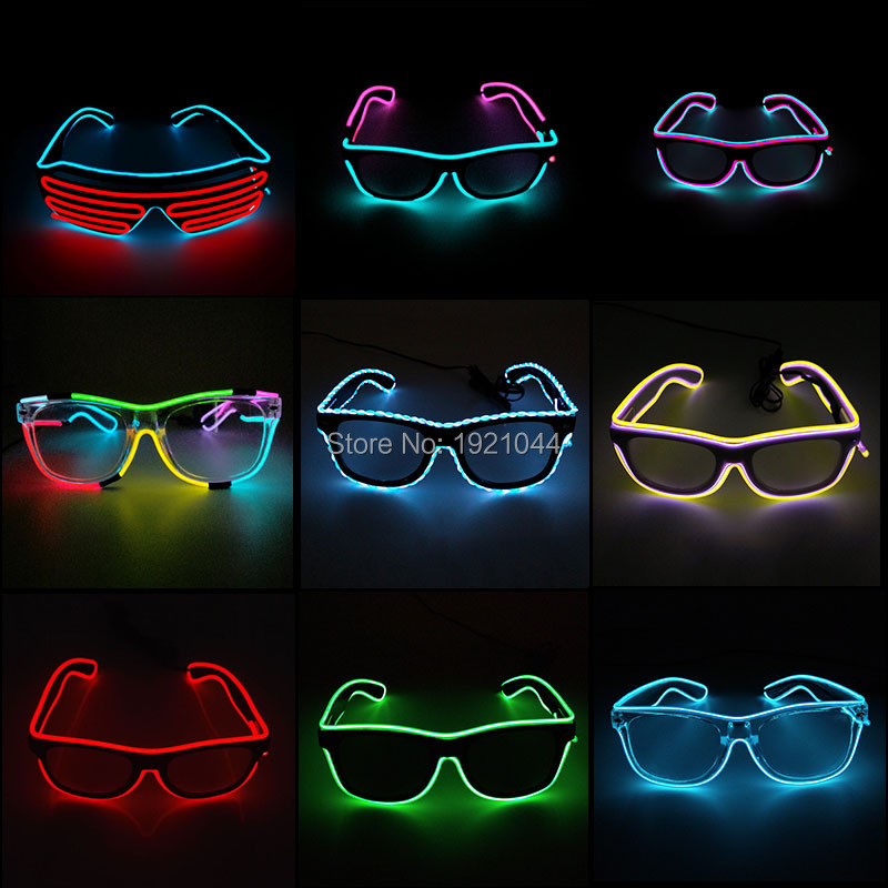 Varmt salg EL Glasses EL Wire Fashion Neon LED Light Up Shutter Shaped Glasses Rave Festival Party Dekorative Solbriller
